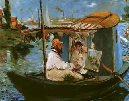 Claude Monet in his Floating Studio