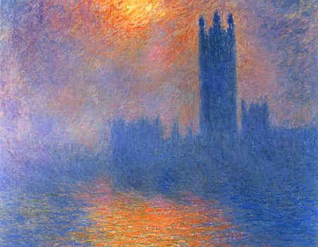Houses of Parliament, London, Sun Breaking Through the Fog