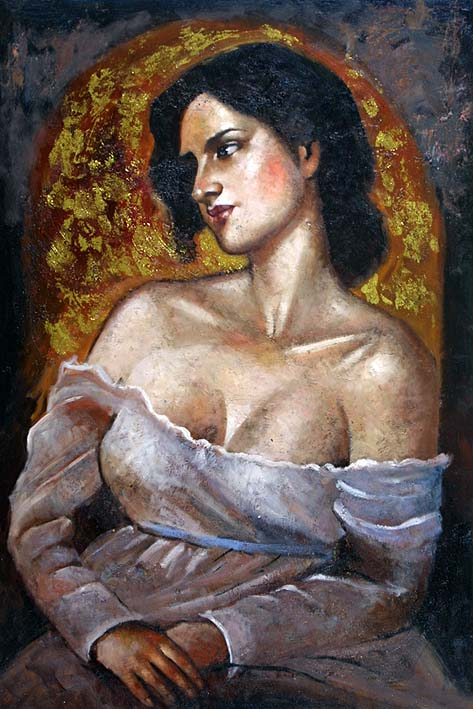 oil paintings from photos, A Greek Beauty, II