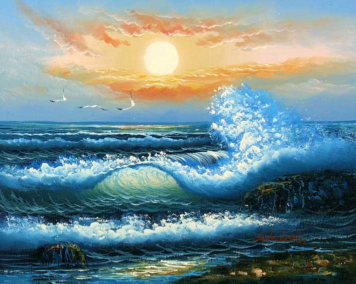 Blue-Greenish Breakers,oil paintings on canvas